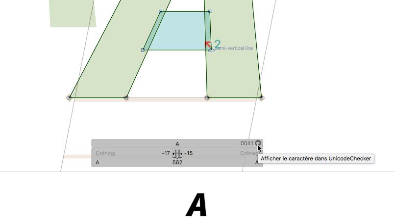 Accès Unicode Checker dans Glyphs